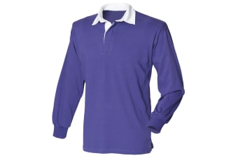 Front Row Mens Long Sleeve Sports Rugby Shirt (Purple) (M)