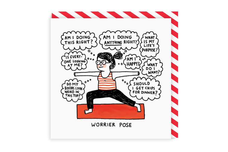 Ohh Deer Worrier Pose Square Greeting Card (Red/White/Black) (One Size)