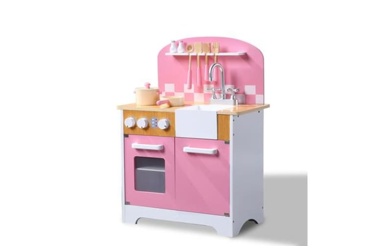 Kids Kitchen Pretend Play Set Cooking Toy Wooden Pink