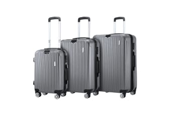 3 Pcs Luggage Set Suitcase Trolley Carry On Travel Storage TSA Hard Case Lightweight - Grey
