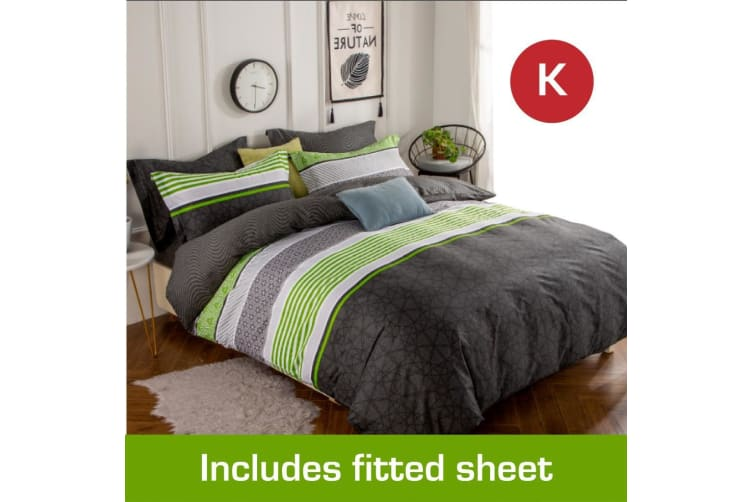 King Size Emerald Design Cotton Quilt Cover + Fitted Sheet
