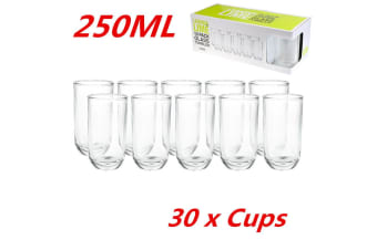 30 x Rounded Tumblers 250ml Clear Drinking Glasses Cups Restaurant Bar Tableware
