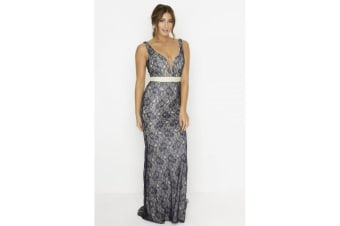 Little Mistress Womens/Ladies Contrast Lace Fishtail Maxi Dress (Navy)