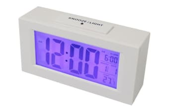 Portable Alarm Clock W/ Light Sensor Blue Backlit Battery Operated White