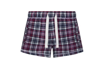 Comfy Co Womens/Ladies Gals Flannel Shorts (Navy/Pink)