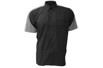 Formula Racing® Sebring Short Sleeve Shirt / Mens Shirts (Black/Silver Grey/White)