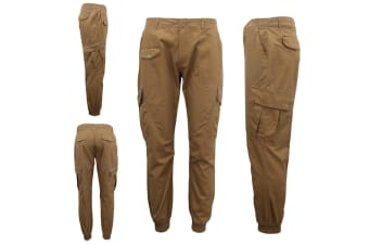 Men's Heavy Duty Cotton Drill 8 Pockets Tactical Work Cargo Pants w Elastic Hem - Brown - Brown