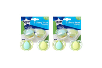 4pc Tommee Tippee Cherry Latex Soothers/Pacifiers/Dummy 0-6m Newborn/Babies