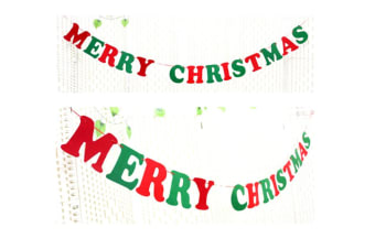 2 Pack Of Christmas Banner Burlap Christmas Party Bunting Garland For Outdoor Indoor Decorations English