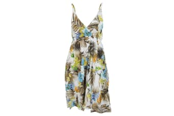 Womens/Ladies Tropical Print Strappy Crossover Summer Dress (Cream/Blue)
