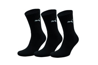 Puma Crew Sport Socks 3 Pair Pack / Mens Socks (Black)