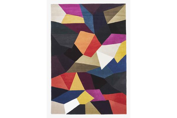 Eclectic Designer Wool Rug Blue Rust Purple 280x190cm