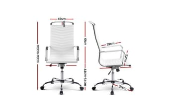 Artiss Eames Replica Office Chair Computer Seating PU Leather Executive Home White