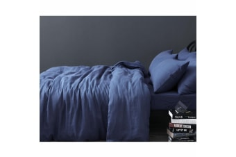 100% Linen Indigo Quilt Cover Set Queen