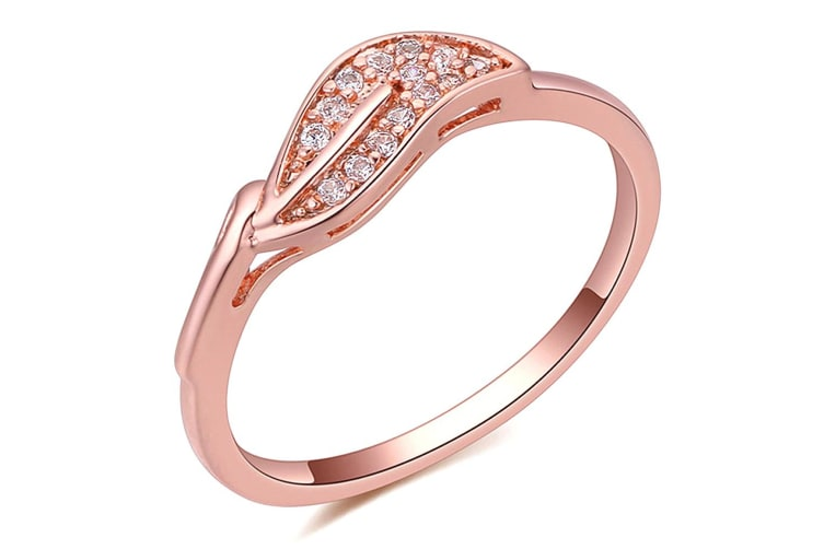 The Leaf Ring-Rose Gold/Clear Size US 7