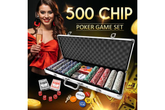 500 Holographic Eagle Chips Professional Poker Card Game Play Set Casino Dice Aluminium Case
