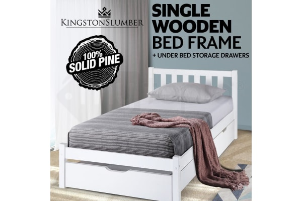 White 2 Trundle Single Bed Frame