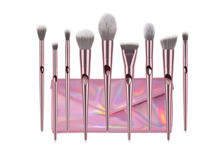 10Pcs Long-Pole Thumbprint Cosmetic Brushes Suit Professional Cosmetic Brushes Purple