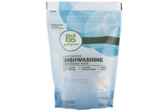 Grab Green Automatic Dishwashing Detergent Pods Natural & Non Toxic Formula - Fragrance Free, 24 Loads, 432g