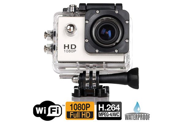 "Full Hd 1080P Sports Dv Camera 30M Waterproof + Wifi 1.5"" Lcd Mount Silver"