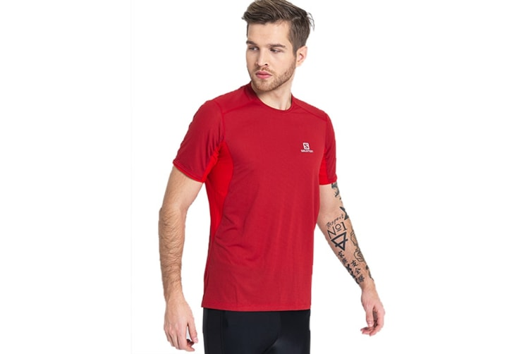 Salomon Trail Runner Short Sleeve Tee Men's (Barbados Cherry, Size Large)