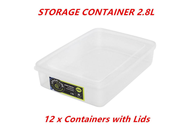 12 x 2.8L Rectangle Stack-able Plastic Food Storage Container Box Tubs Lid BPA Free