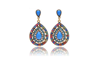 Simple Vintage Women Long Waterdrop-shaped Drop Hollow Out Earings Colored