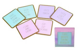 Set of 6 Coaster Cool Let's Party Gin/Champagne Gold Slogan Laminated Surface