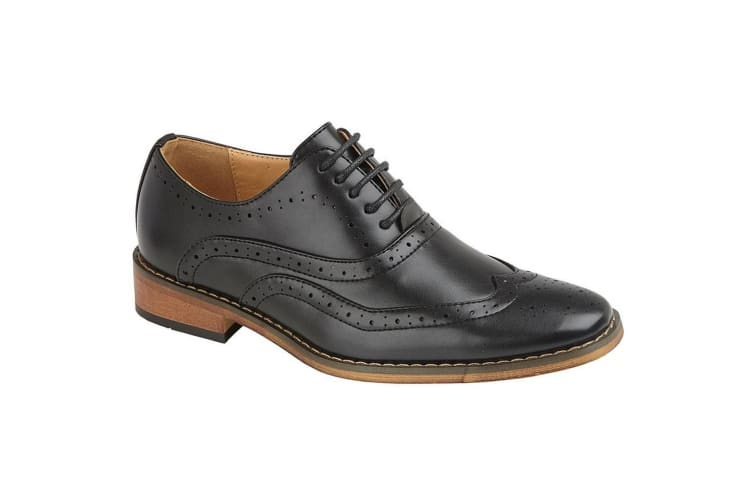 Goor Mens 5 Eye Brogue Oxford Shoe (Black PU) (12 UK)