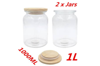2 x 1000ml Glass Canister Jar With Wooden Sealed Lid Airtight Jars Storage Kitchen
