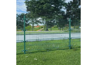 vidaXL Fence Panel with Posts Powder-coated Iron 6x1.2 m Green
