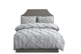 Dreamz Diamond Pintuck Duvet/Doona/Quilt Cover Set Queen King Size Bed Supersoft  -  GreyFull
