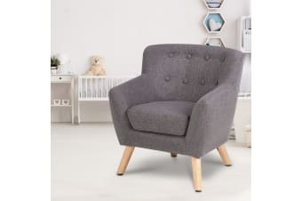 Artiss Kids Sofa Armchair Fabric Wooden Lorraine French Couch Children Room Grey