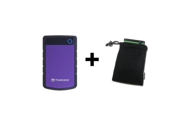 """Transcend 2TB StoreJet 25H3P 2.5"""" USB 3.0 External HDD with Pouch Bag. Military-grade shock"""