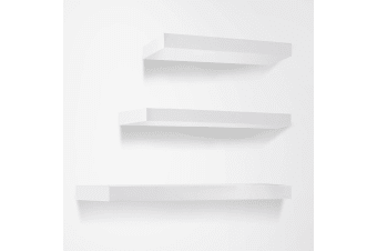 3 Piece Wall Floating Shelf Set Bookshelf Display (White)