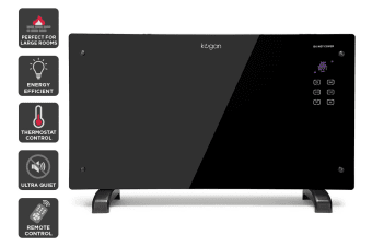 Kogan 2000W Black Glass Portable Electric Panel Heater