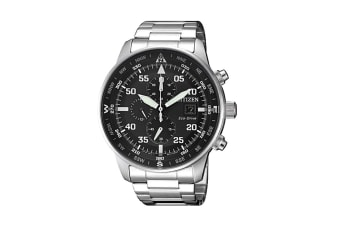 Citizen Men's Analog Eco-Drive Watch with Multi Dial, Chronograph, Date, 12/24 hr Time - Stainless Steel/Black (CA0690-88E)