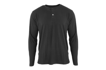 Nakedshirt  Mens Aden Henley Long Sleeve T-Shirt (Deep Black)