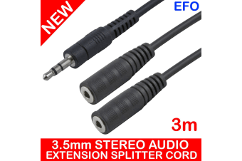 3M 3.5Mm Stereo Audio Extension Splitter Male To Female (X2) Cable Headphone Aux