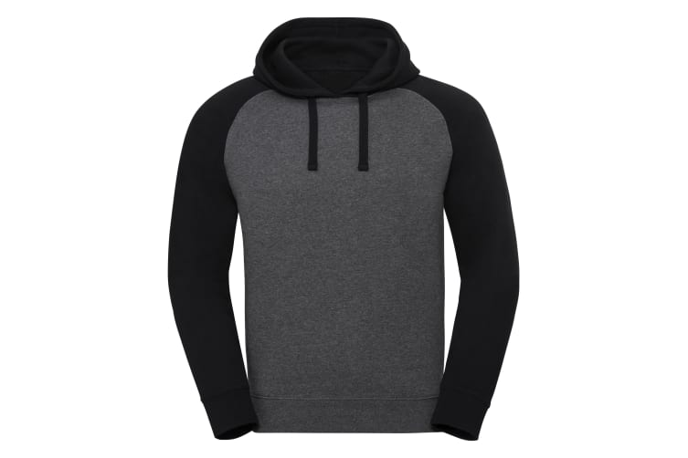 Russel Mens Authentic Hooded Baseball Sweatshirt (Carbon Melange/Black) (XL)
