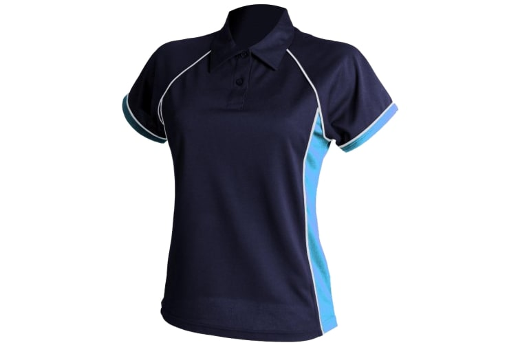 Finden & Hales Womens Coolplus Piped Sports Polo Shirt (Navy/ Sky/ White) (M)