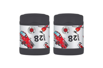 2PK Thermos Funtainer 290ml Food Jar Stainless Steel Hot Cold Flask Fire Truck