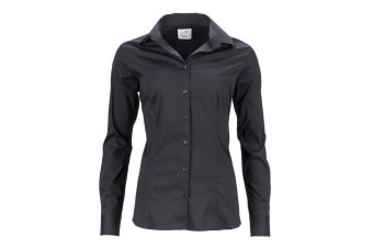 James and Nicholson Womens/Ladies Slim Fit Shirt (Black) (XS)