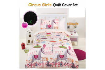 Glow In The Dark Circus Girls Quilt Cover Set DOUBLE by Happy Kids