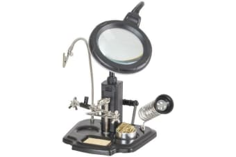Soldering iron Stand LED Magnifying lamp with third hand Spool holder Sponge and cleaning ball