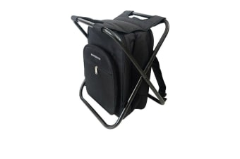 Maverick Backpack with Cooler and Collapsible Stool Black