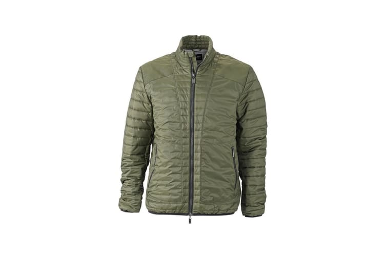 James and Nicholson Mens Lightweight Jacket (Olive Green/Silver) (L)