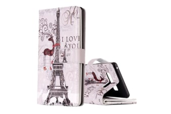 "For Samsung Galaxy Note 8 Wallet Case ""Love the Eiffel Tower"" Leather Cover"
