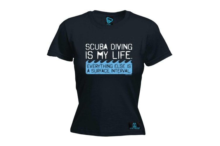 Open Water Scuba Diving Tee - Is My Life - (Large Black Womens T Shirt)