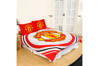 Manchester United FC Official  Reversible Pulse Double Duvet Set (White/Red/Black)